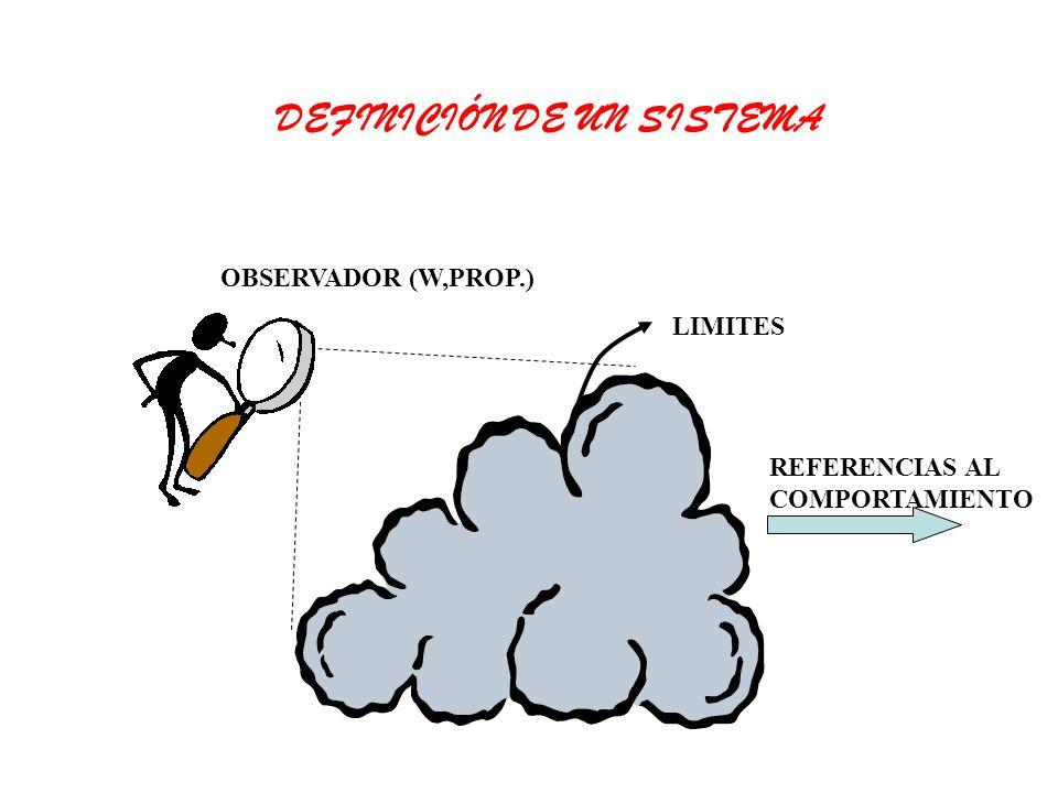 OBSERVADOR (W,PROP.) LIMITES REFERENCIAS AL COMPORTAMIENTO DEFINICIÓN DE UN SISTEMA