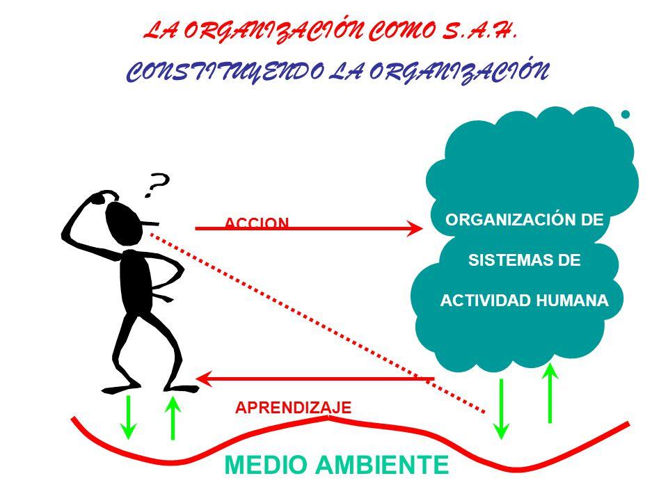 MEDIO AMBIENTE ORGANIZACIÓN DE SISTEMAS DE ACTIVIDAD HUMANA ACCION APRENDIZAJE CONSTITUYENDO LA ORGANIZACIÓN LA ORGANIZACIÓN COMO S.A.H.