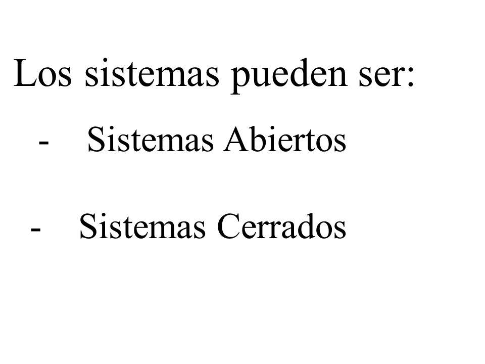 Los sistemas pueden ser: -Sistemas Abiertos -Sistemas Cerrados