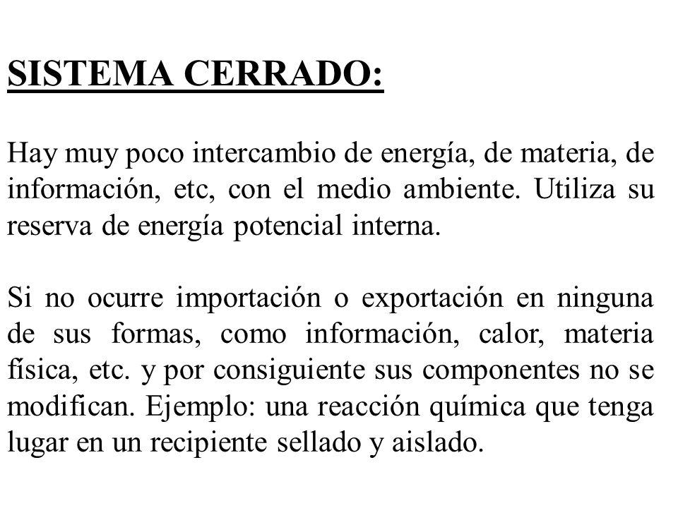SISTEMA CERRADO: Hay muy poco intercambio de energía, de materia, de información, etc, con el medio ambiente. Utiliza su reserva de energía potencial