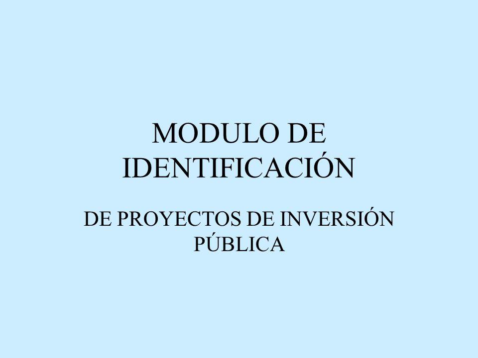 MODULO DE IDENTIFICACIÓN DE PROYECTOS DE INVERSIÓN PÚBLICA