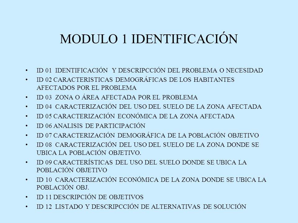 MODULO 1 IDENTIFICACIÓN ID 01 IDENTIFICACIÓN Y DESCRIPCCIÓN DEL PROBLEMA O NECESIDAD ID 02 CARACTERISTICAS DEMOGRÁFICAS DE LOS HABITANTES AFECTADOS POR EL PROBLEMA ID 03 ZONA O ÁREA AFECTADA POR EL PROBLEMA ID 04 CARACTERIZACIÓN DEL USO DEL SUELO DE LA ZONA AFECTADA ID 05 CARACTERIZACIÓN ECONÓMICA DE LA ZONA AFECTADA ID 06 ANALISIS DE PARTICIPACIÓN ID 07 CARACTERIZACIÓN DEMOGRÁFICA DE LA POBLACIÓN OBJETIVO ID 08 CARACTERIZACIÓN DEL USO DEL SUELO DE LA ZONA DONDE SE UBICA LA POBLACIÓN OBJETIVO.