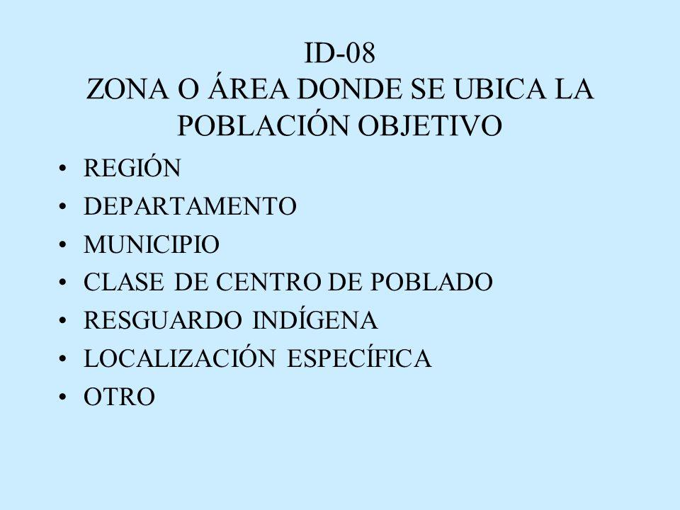 ID-08 ZONA O ÁREA DONDE SE UBICA LA POBLACIÓN OBJETIVO REGIÓN DEPARTAMENTO MUNICIPIO CLASE DE CENTRO DE POBLADO RESGUARDO INDÍGENA LOCALIZACIÓN ESPECÍFICA OTRO