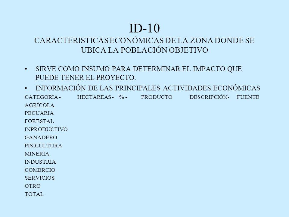 ID-10 CARACTERISTICAS ECONÓMICAS DE LA ZONA DONDE SE UBICA LA POBLACIÓN OBJETIVO SIRVE COMO INSUMO PARA DETERMINAR EL IMPACTO QUE PUEDE TENER EL PROYECTO.