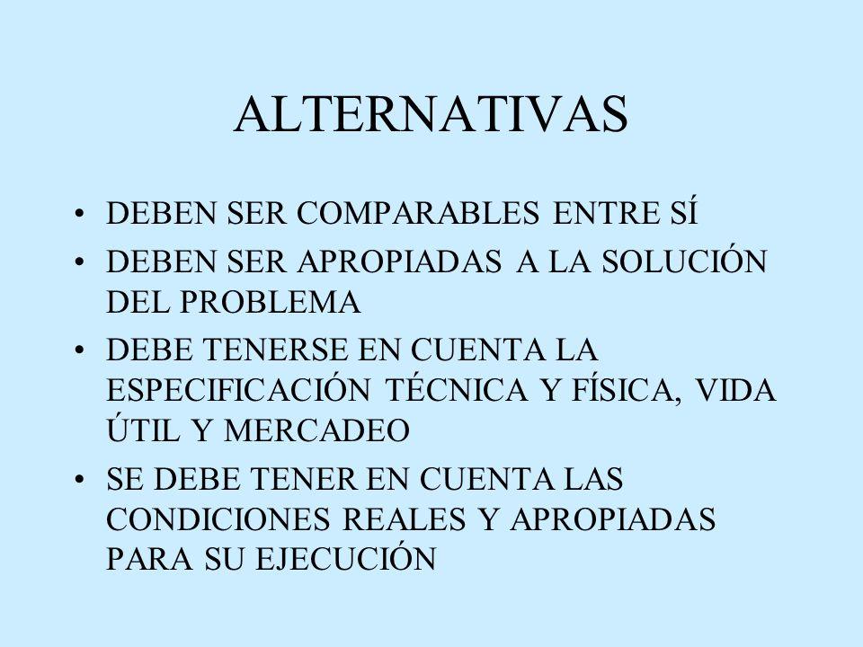 ALTERNATIVAS DEBEN SER COMPARABLES ENTRE SÍ DEBEN SER APROPIADAS A LA SOLUCIÓN DEL PROBLEMA DEBE TENERSE EN CUENTA LA ESPECIFICACIÓN TÉCNICA Y FÍSICA, VIDA ÚTIL Y MERCADEO SE DEBE TENER EN CUENTA LAS CONDICIONES REALES Y APROPIADAS PARA SU EJECUCIÓN