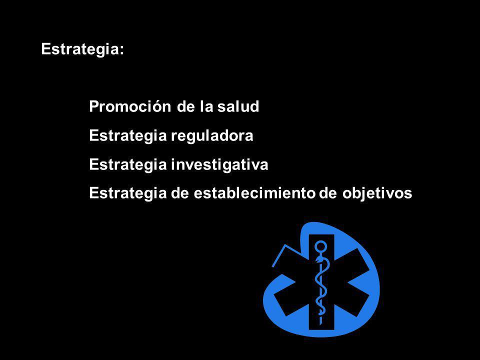 Estrategia: Promoción de la salud Estrategia reguladora Estrategia investigativa Estrategia de establecimiento de objetivos