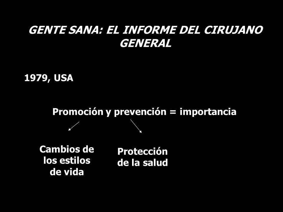 GENTE SANA: EL INFORME DEL CIRUJANO GENERAL 1979, USA Promoción y prevención = importancia Cambios de los estilos de vida Protección de la salud