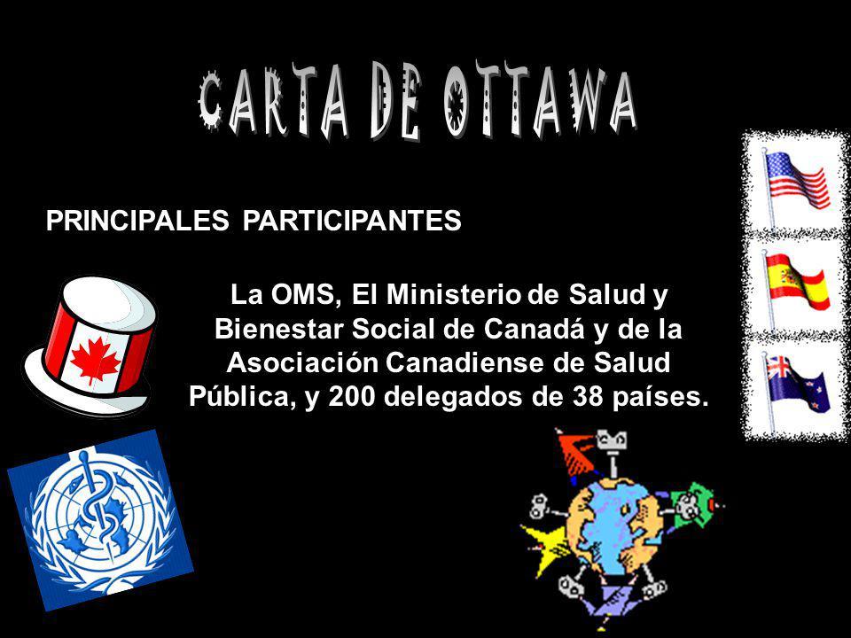 PRINCIPALES PARTICIPANTES La OMS, El Ministerio de Salud y Bienestar Social de Canadá y de la Asociación Canadiense de Salud Pública, y 200 delegados