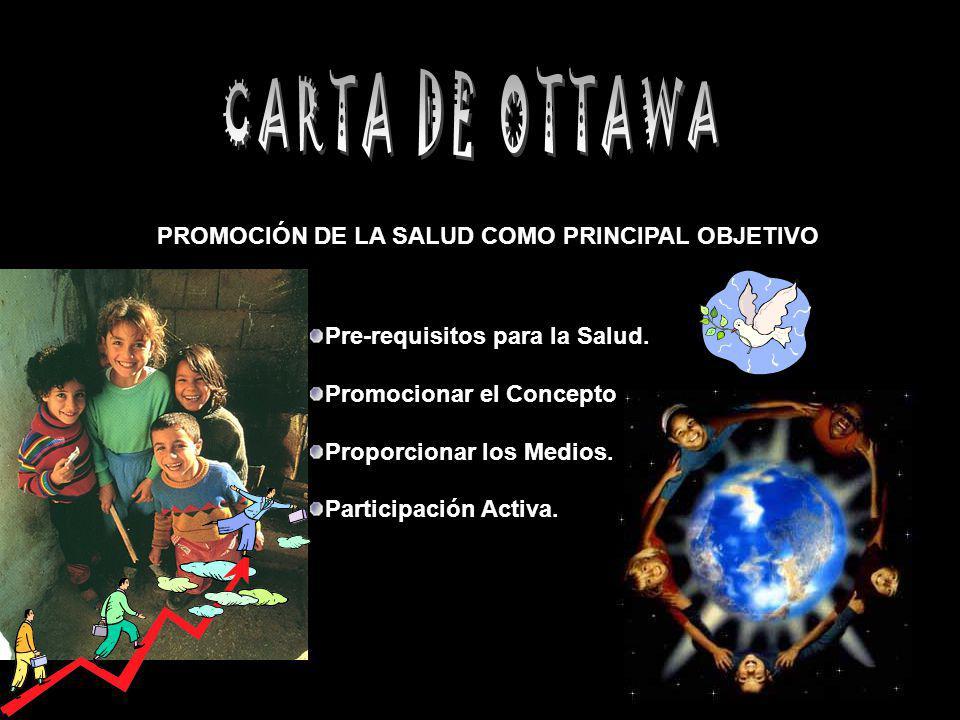 PROMOCIÓN DE LA SALUD COMO PRINCIPAL OBJETIVO Pre-requisitos para la Salud. Promocionar el Concepto. Proporcionar los Medios. Participación Activa.
