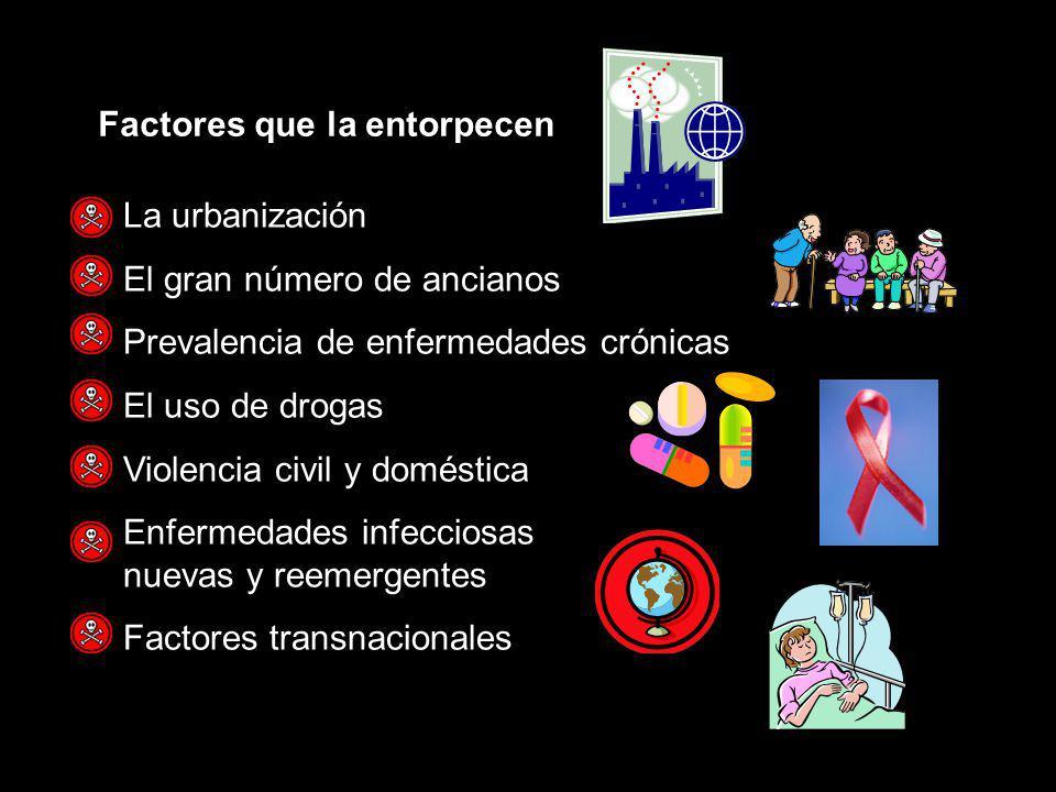 La urbanización El gran número de ancianos Prevalencia de enfermedades crónicas El uso de drogas Violencia civil y doméstica Enfermedades infecciosas