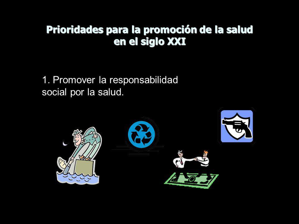Prioridades para la promoción de la salud en el siglo XXI 1. Promover la responsabilidad social por la salud.