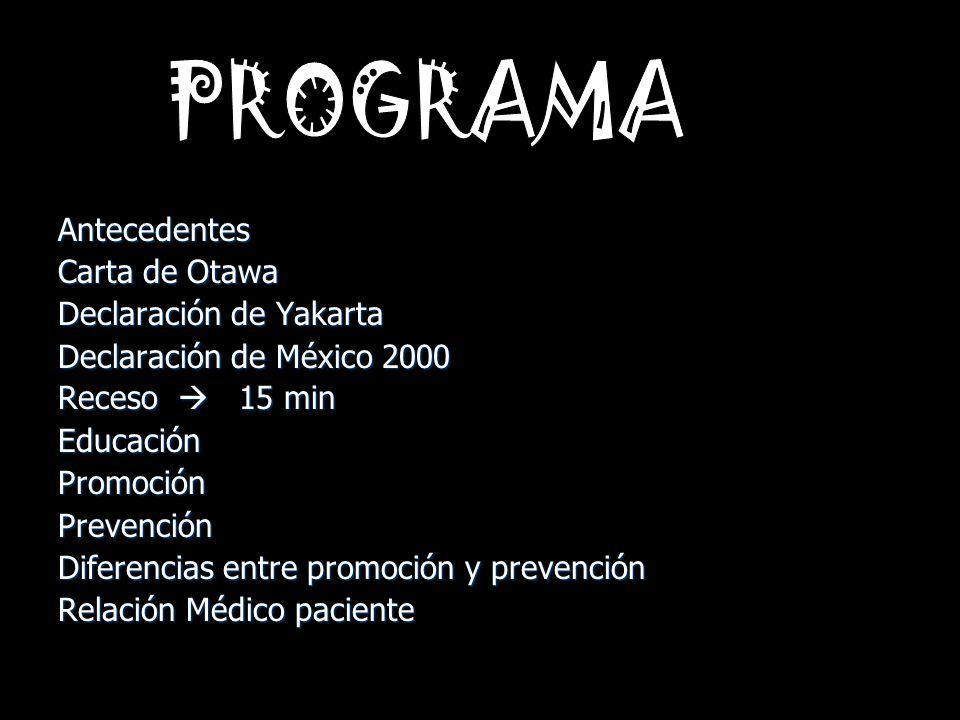 Antecedentes Carta de Otawa Declaración de Yakarta Declaración de México 2000 Receso 15 min EducaciónPromociónPrevención Diferencias entre promoción y