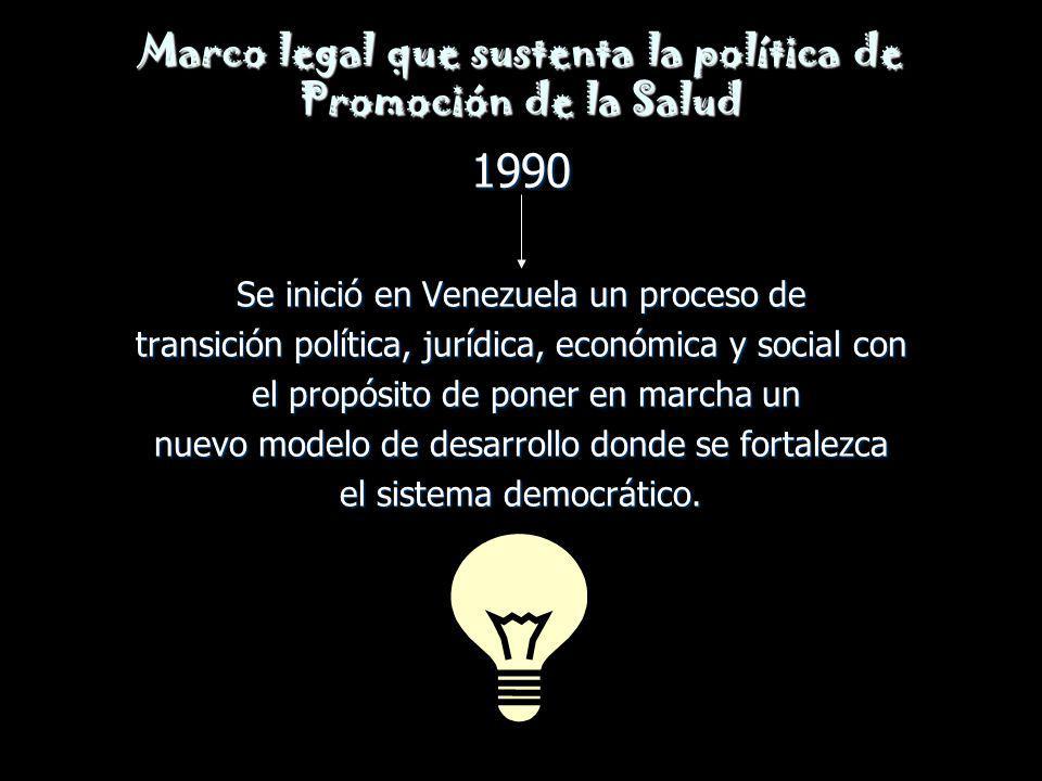 Marco legal que sustenta la política de Promoción de la Salud 1990 Se inició en Venezuela un proceso de transición política, jurídica, económica y soc
