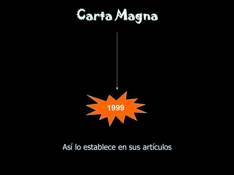 Carta Magna Así lo establece en sus artículos 1999