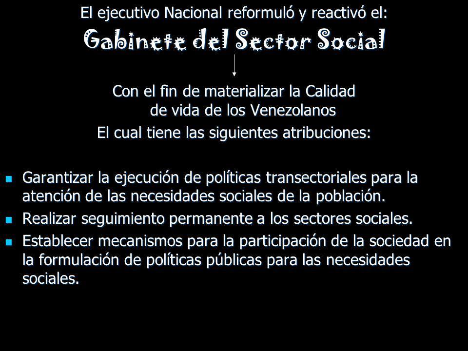 El ejecutivo Nacional reformuló y reactivó el: Gabinete del Sector Social Con el fin de materializar la Calidad de vida de los Venezolanos El cual tie