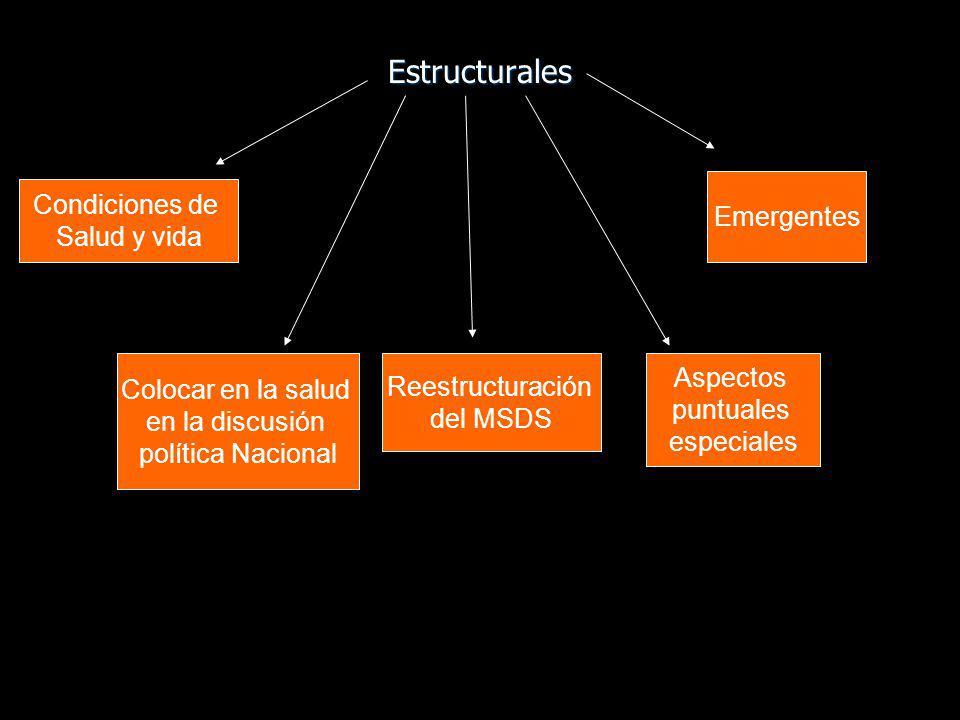 Estructurales Condiciones de Salud y vida Colocar en la salud en la discusión política Nacional Reestructuración del MSDS Aspectos puntuales especiale