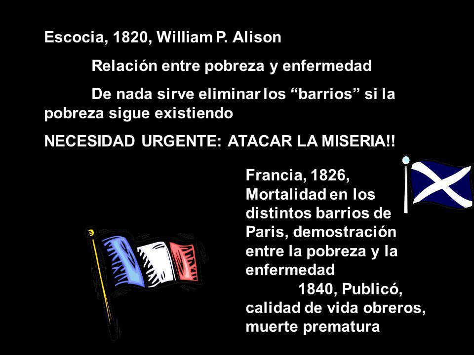 Escocia, 1820, William P. Alison Relación entre pobreza y enfermedad De nada sirve eliminar los barrios si la pobreza sigue existiendo NECESIDAD URGEN