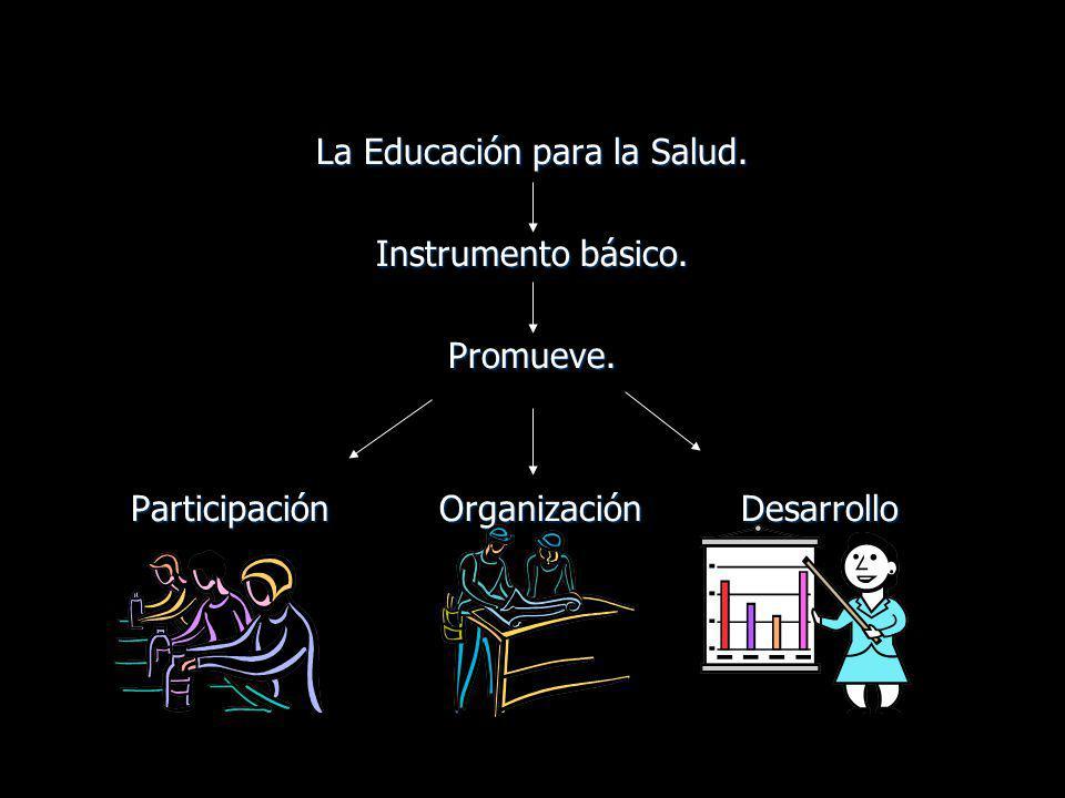 La Educación para la Salud. Instrumento básico. Promueve. Participación Organización Desarrollo