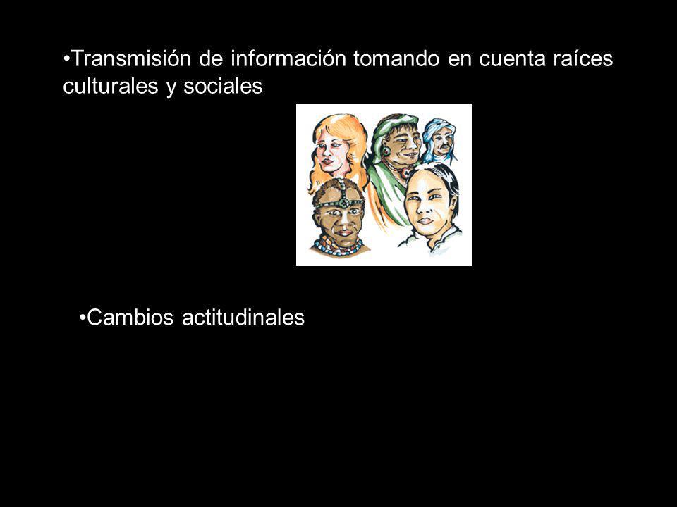 Transmisión de información tomando en cuenta raíces culturales y sociales Cambios actitudinales