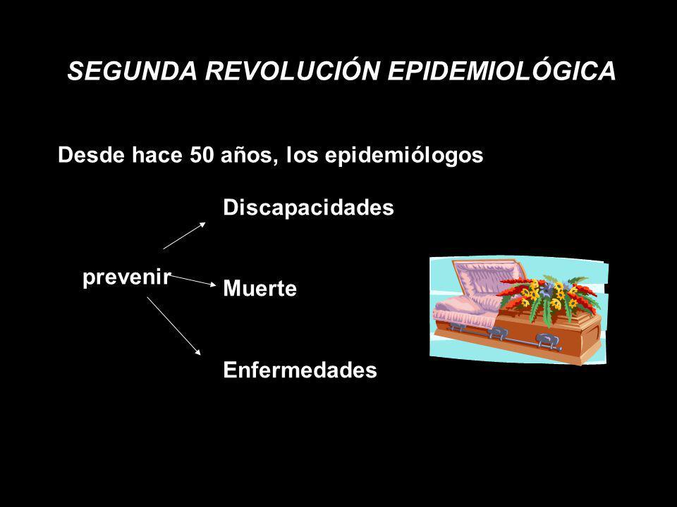 SEGUNDA REVOLUCIÓN EPIDEMIOLÓGICA Desde hace 50 años, los epidemiólogos prevenir Discapacidades Muerte Enfermedades