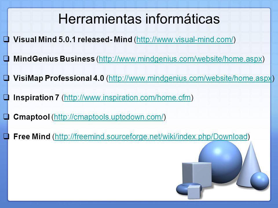 Herramientas informáticas Visual Mind 5.0.1 released- Mind (http://www.visual-mind.com/)http://www.visual-mind.com/ MindGenius Business (http://www.mindgenius.com/website/home.aspx)http://www.mindgenius.com/website/home.aspx VisiMap Professional 4.0 (http://www.mindgenius.com/website/home.aspx)http://www.mindgenius.com/website/home.aspx Inspiration 7 (http://www.inspiration.com/home.cfm)http://www.inspiration.com/home.cfm Cmaptool (http://cmaptools.uptodown.com/)http://cmaptools.uptodown.com/ Free Mind (http://freemind.sourceforge.net/wiki/index.php/Download)http://freemind.sourceforge.net/wiki/index.php/Download