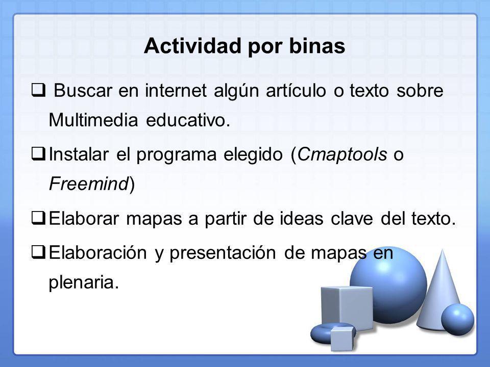 Actividad por binas Buscar en internet algún artículo o texto sobre Multimedia educativo.