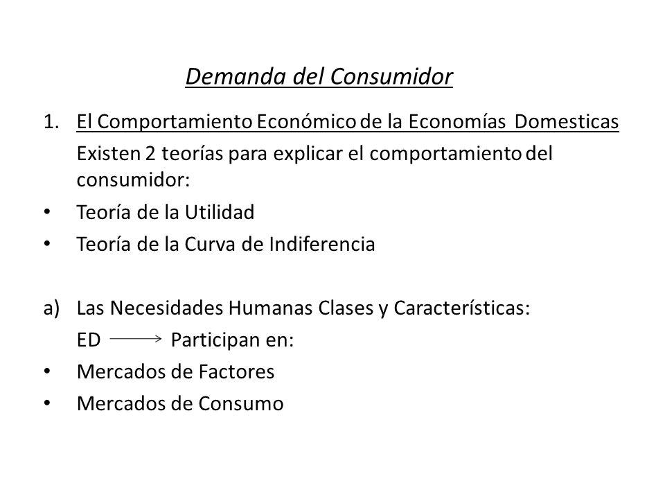 Demanda del Consumidor 1.El Comportamiento Económico de la Economías Domesticas Existen 2 teorías para explicar el comportamiento del consumidor: Teor