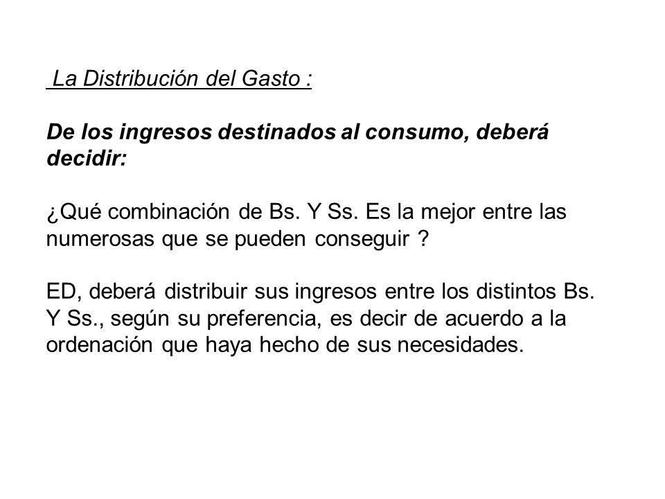 La Distribución del Gasto : De los ingresos destinados al consumo, deberá decidir: ¿Qué combinación de Bs. Y Ss. Es la mejor entre las numerosas que s