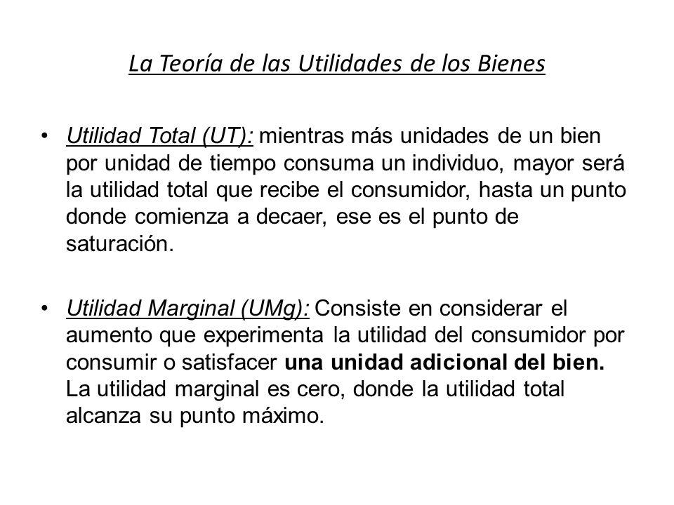 La Teoría de las Utilidades de los Bienes Utilidad Total (UT): mientras más unidades de un bien por unidad de tiempo consuma un individuo, mayor será