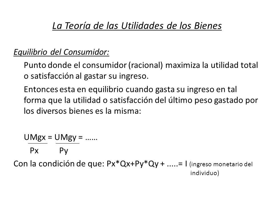 La Teoría de las Utilidades de los Bienes Equilibrio del Consumidor: Punto donde el consumidor (racional) maximiza la utilidad total o satisfacción al