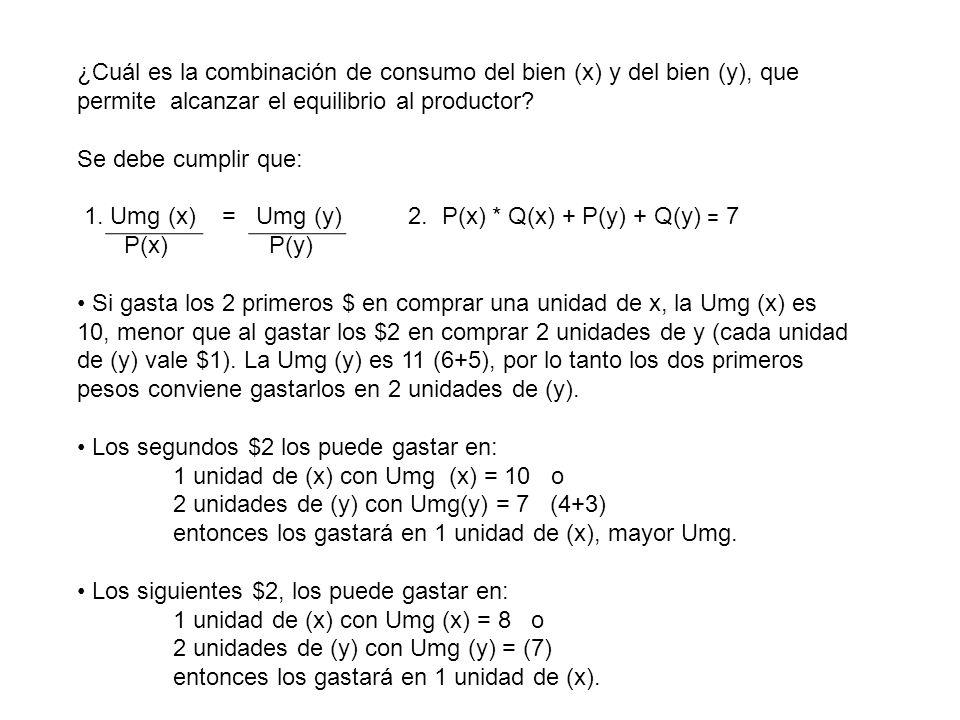 ¿Cuál es la combinación de consumo del bien (x) y del bien (y), que permite alcanzar el equilibrio al productor? Se debe cumplir que: 1. Umg (x) = Umg