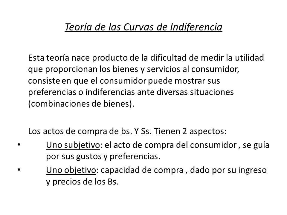 Teoría de las Curvas de Indiferencia Esta teoría nace producto de la dificultad de medir la utilidad que proporcionan los bienes y servicios al consum