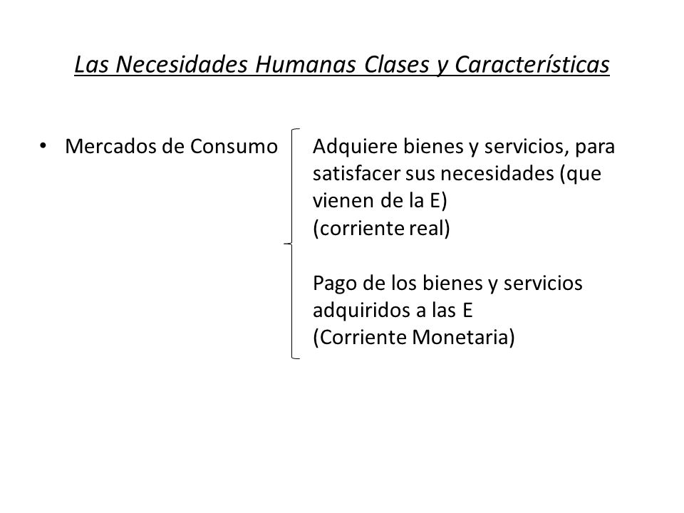Las Necesidades Humanas Clases y Características Mercados de Consumo Adquiere bienes y servicios, para satisfacer sus necesidades (que vienen de la E)