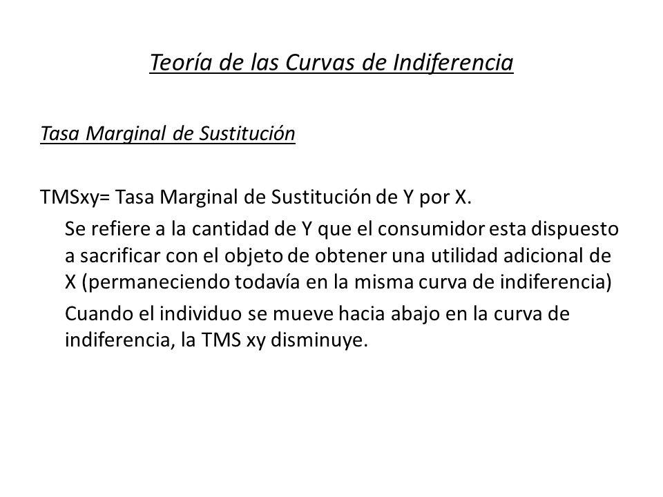 Teoría de las Curvas de Indiferencia Tasa Marginal de Sustitución TMSxy= Tasa Marginal de Sustitución de Y por X. Se refiere a la cantidad de Y que el