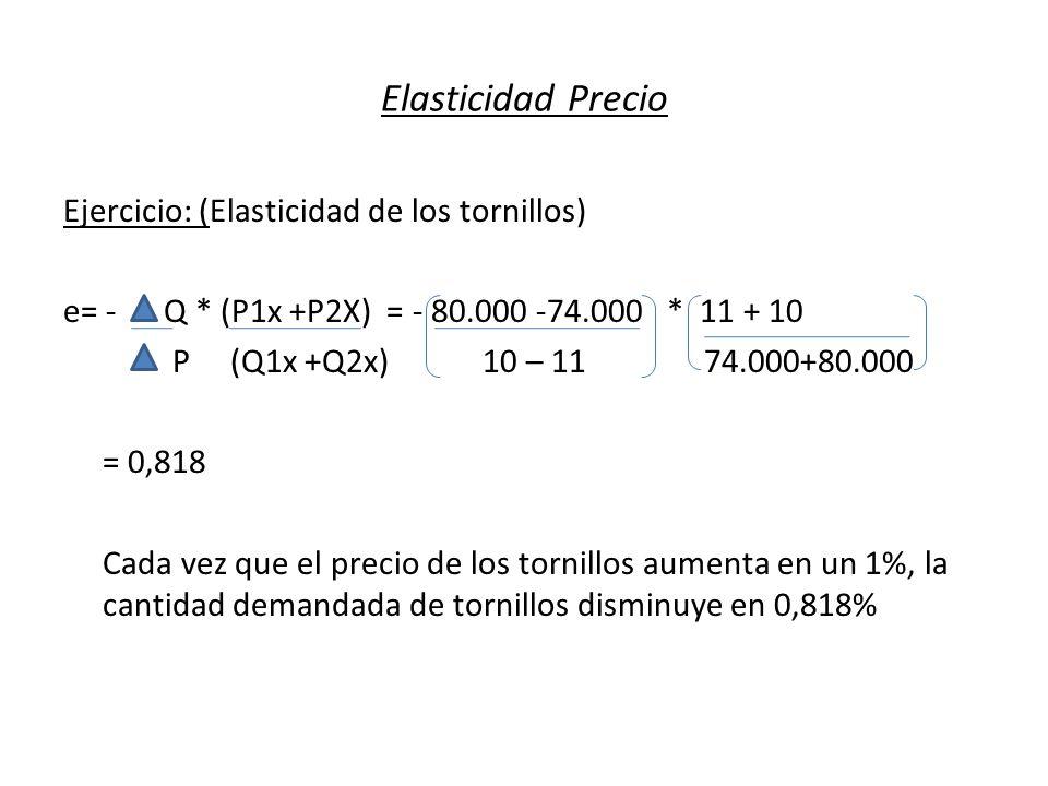 Elasticidad Precio Ejercicio: (Elasticidad de los tornillos) e= - Q * (P1x +P2X) = - 80.000 -74.000 * 11 + 10 P (Q1x +Q2x) 10 – 11 74.000+80.000 = 0,8