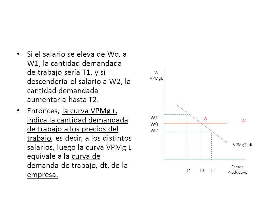 Si el salario se eleva de Wo, a W1, la cantidad demandada de trabajo sería T1, y si descendería el salario a W2, la cantidad demandada aumentaría hast