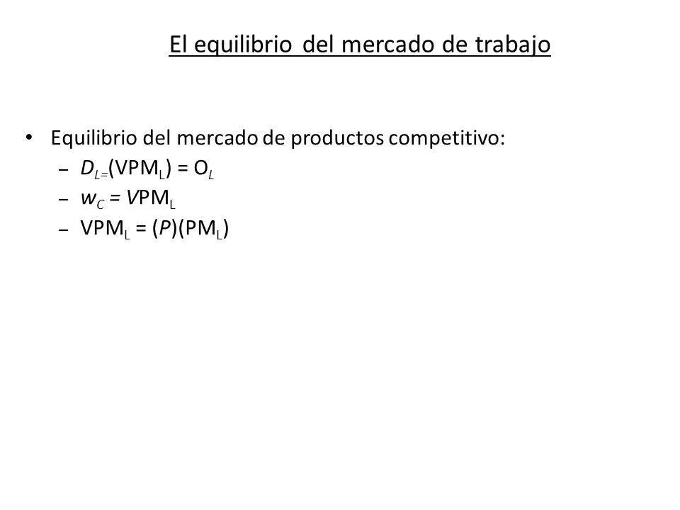 El equilibrio del mercado de trabajo Equilibrio del mercado de productos competitivo: – D L= (VPM L ) = O L – w C = VPM L – VPM L = (P)(PM L )
