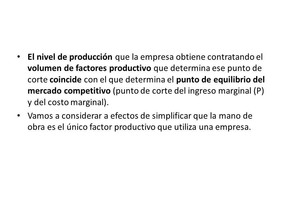 El nivel de producción que la empresa obtiene contratando el volumen de factores productivo que determina ese punto de corte coincide con el que deter