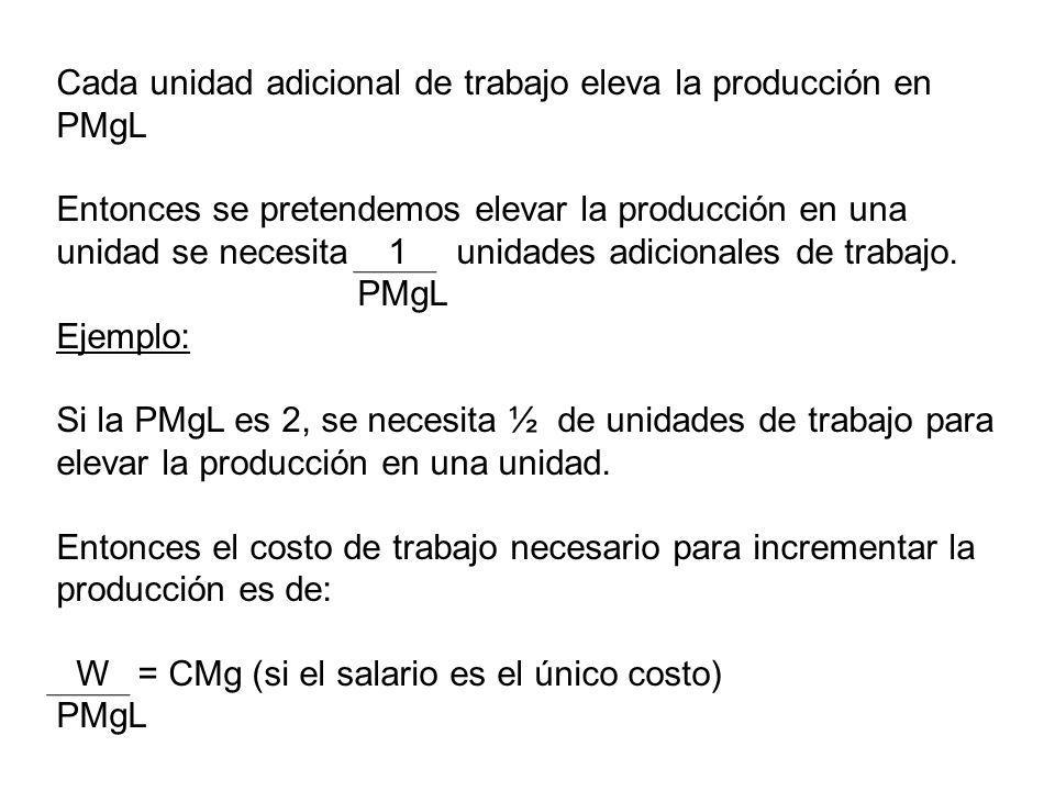 Cada unidad adicional de trabajo eleva la producción en PMgL Entonces se pretendemos elevar la producción en una unidad se necesita 1 unidades adicion