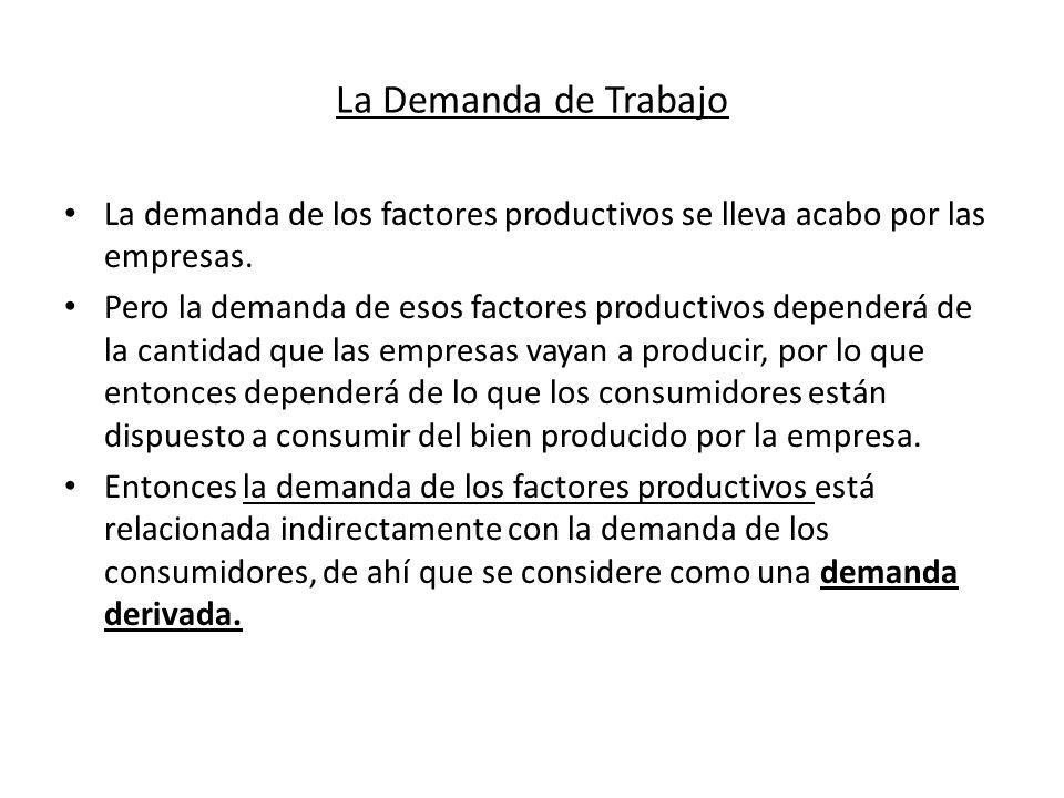 La Demanda de Trabajo La demanda de los factores productivos se lleva acabo por las empresas. Pero la demanda de esos factores productivos dependerá d