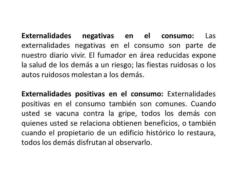 Externalidades negativas en el consumo: Las externalidades negativas en el consumo son parte de nuestro diario vivir. El fumador en área reducidas exp