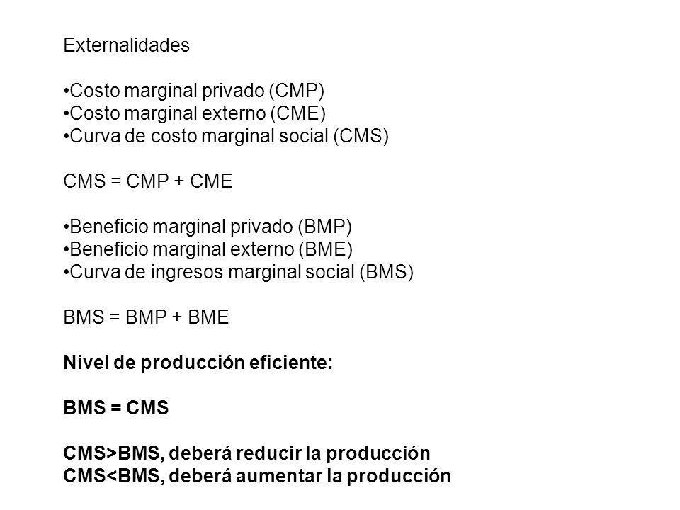 Externalidades Costo marginal privado (CMP) Costo marginal externo (CME) Curva de costo marginal social (CMS) CMS = CMP + CME Beneficio marginal priva