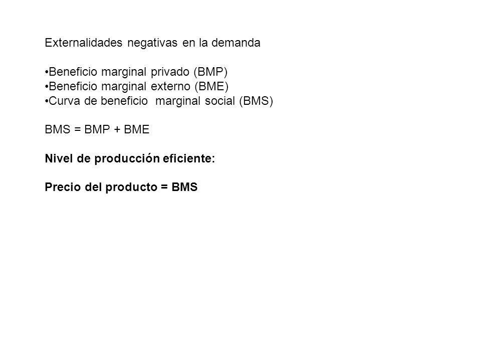 Externalidades negativas en la demanda Beneficio marginal privado (BMP) Beneficio marginal externo (BME) Curva de beneficio marginal social (BMS) BMS