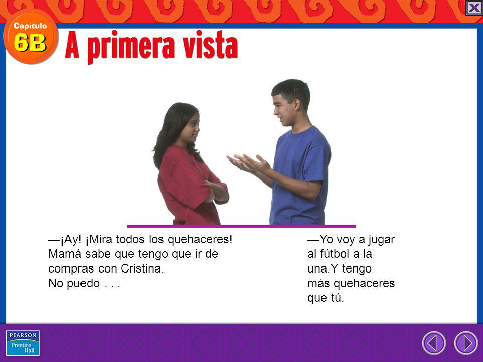 When you tell friends, family members, or young people to do something, you use an affirmative tú command.