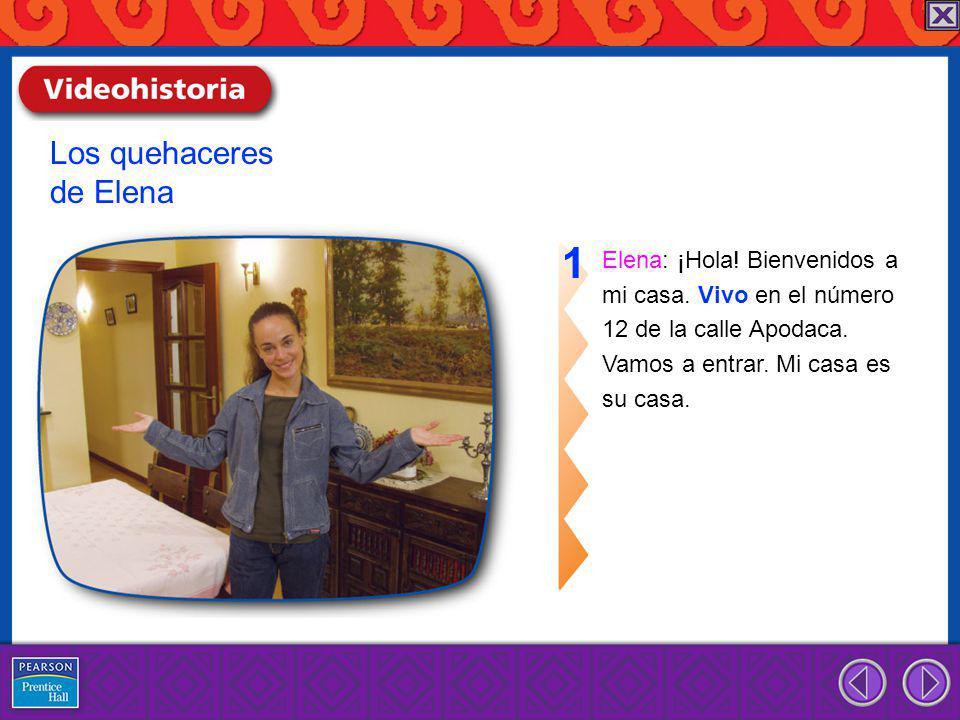 Elena: ¡Hola.Bienvenidos a mi casa. Vivo en el número 12 de la calle Apodaca.