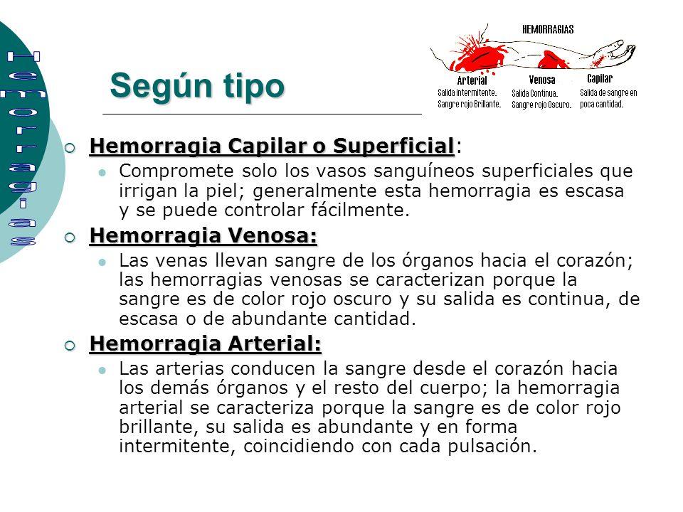 Según tipo Hemorragia Capilar o Superficial Hemorragia Capilar o Superficial: Compromete solo los vasos sanguíneos superficiales que irrigan la piel;