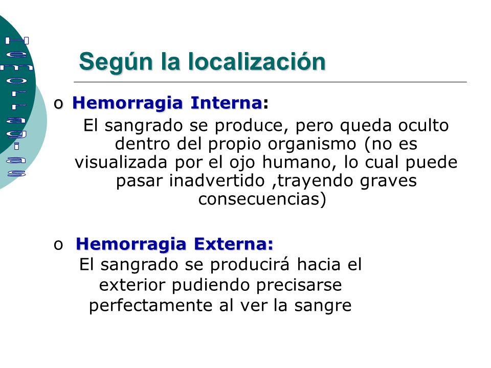Según la localización oHemorragia Interna oHemorragia Interna: El sangrado se produce, pero queda oculto dentro del propio organismo (no es visualizad