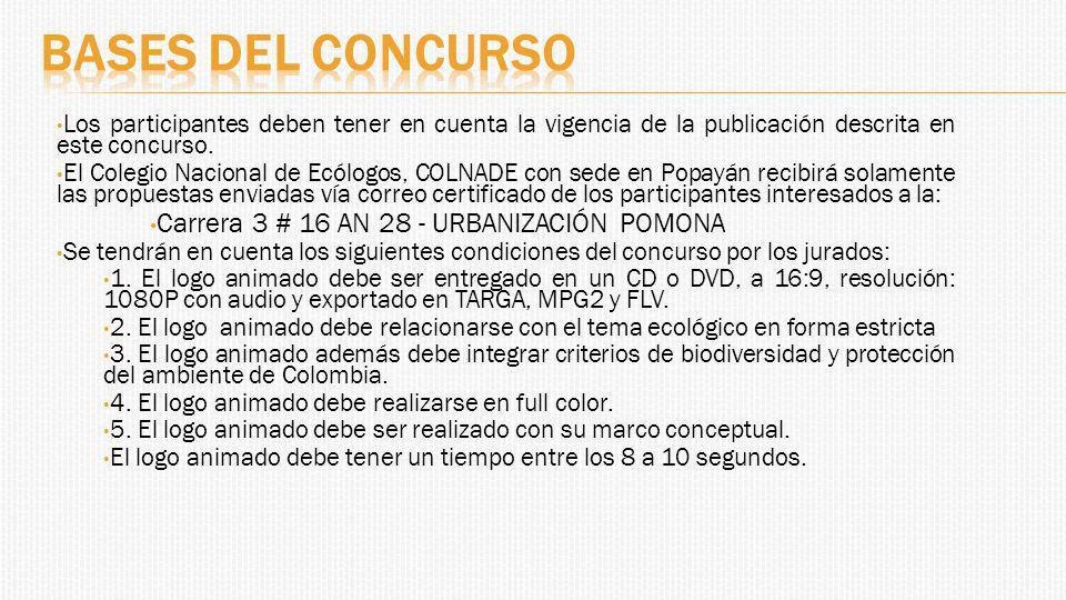 Los participantes deben tener en cuenta la vigencia de la publicación descrita en este concurso.