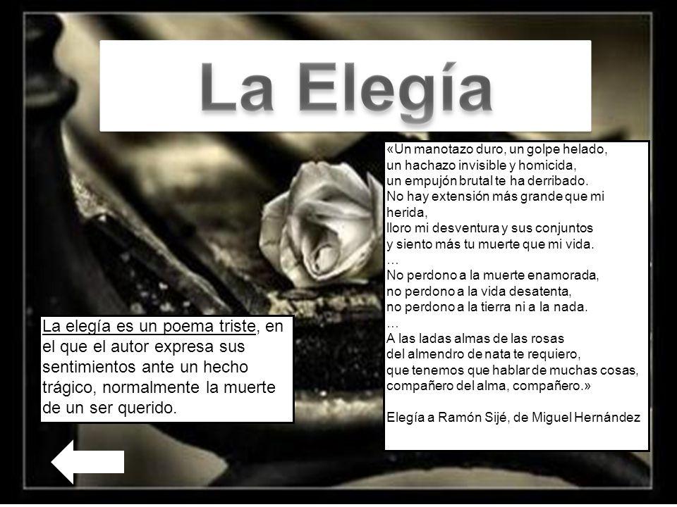 La elegía es un poema triste, en el que el autor expresa sus sentimientos ante un hecho trágico, normalmente la muerte de un ser querido.