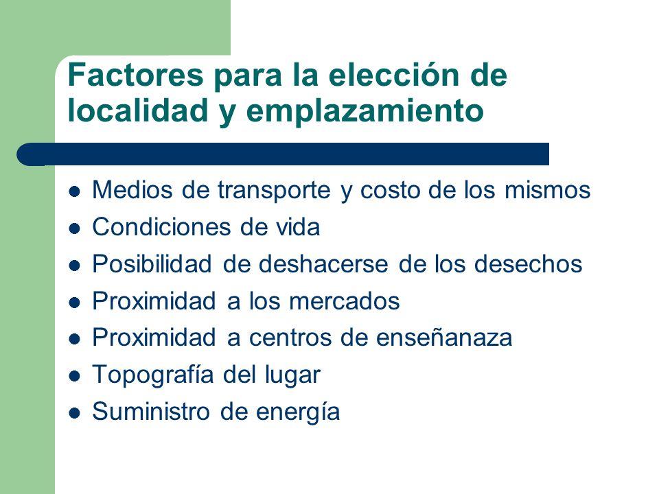 Factores para la elección de localidad y emplazamiento Disponibilidad de combustible Nivel salarial Estructura impositiva Disponibilidad de personal ejecutivo y técnico Disponibilidad de viviendas Comunicaciones Clima